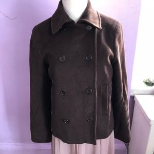 Theory Brown Cropped Peacoat